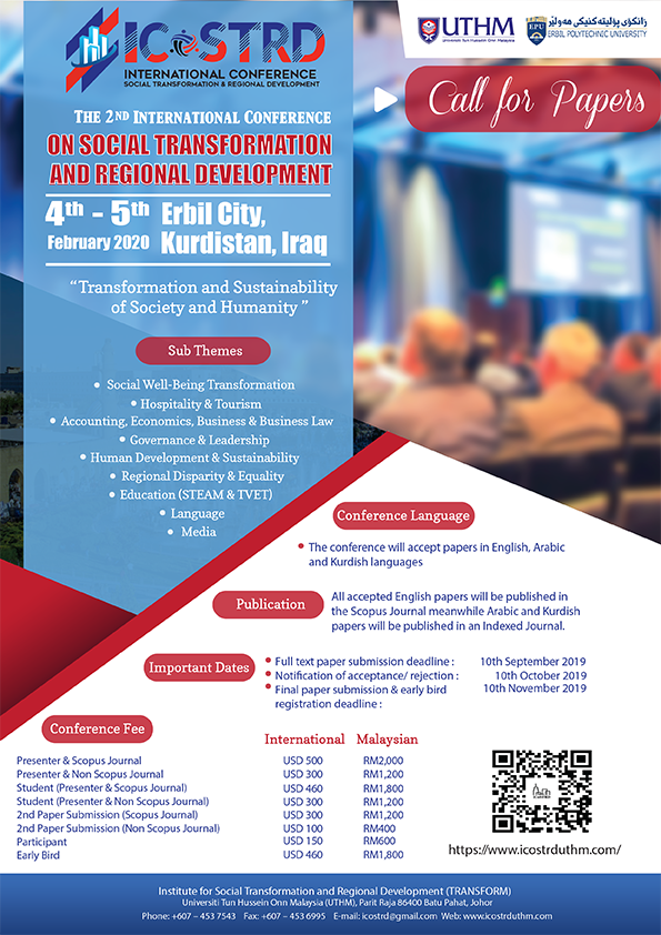 2nd International Conference on Social Transformation and Regional Development (ICoSTRD) 2020